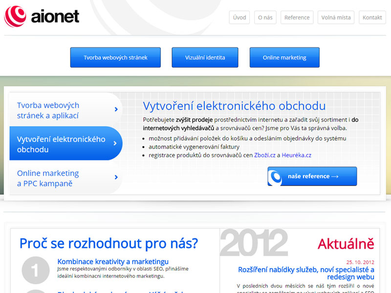 aionet.cz web site screenshot