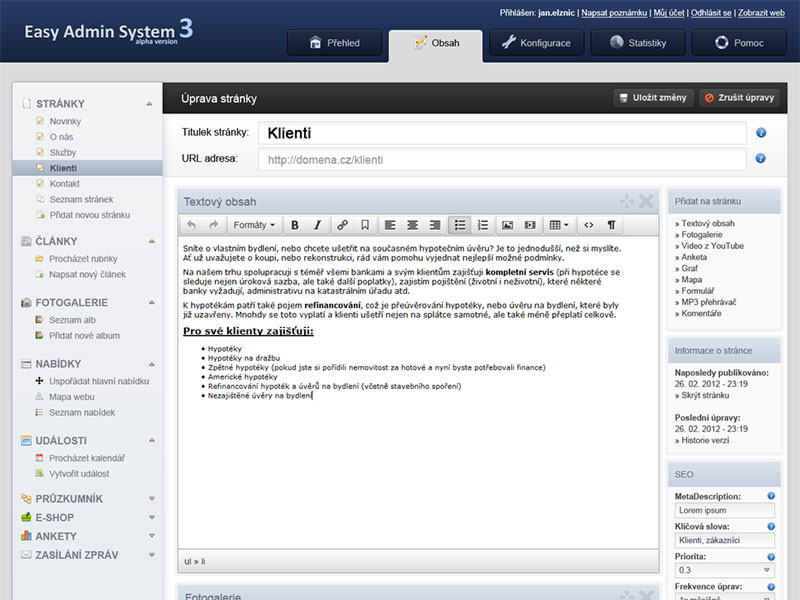 CMS Easy Admin System 3 screenshot