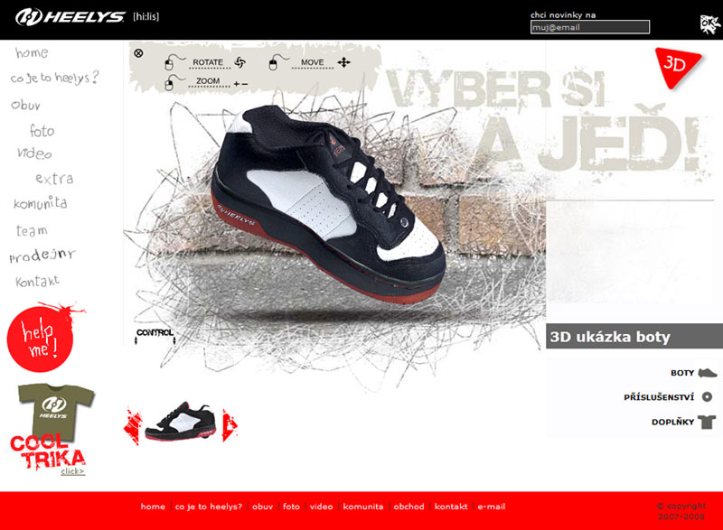 Heelys.cz web site screenshot