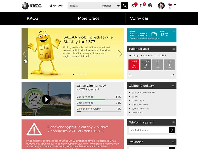 KKCG intranet screenshot
