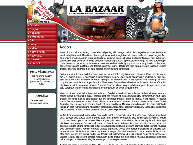 LA BAZAAR club web site screenshot