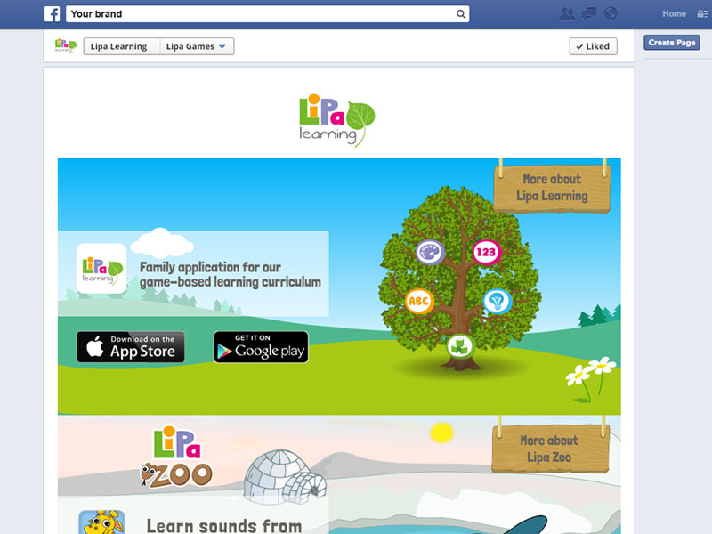 Facebook tabs Lipa Learning screeenshot