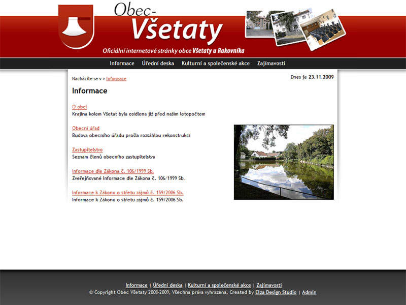 Obec Všetaty village screenshot