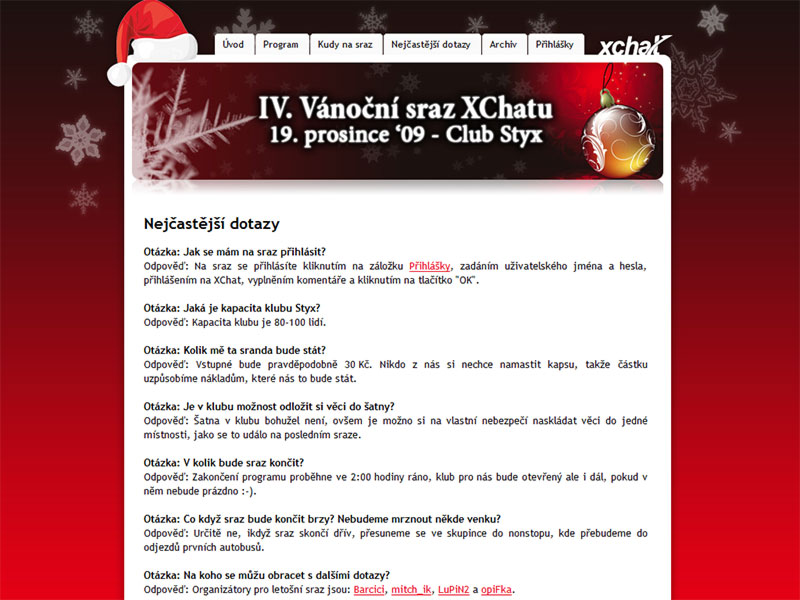 Xmas meetings with XChat.cz screenshot